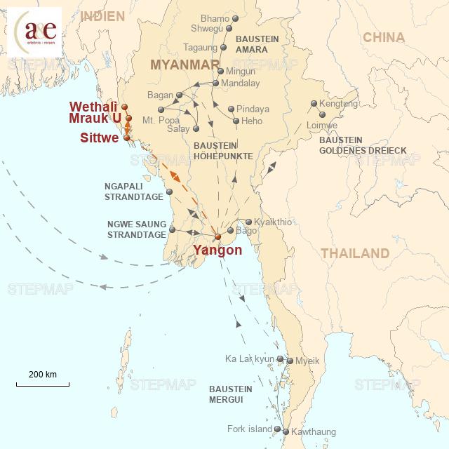 Routenkarte zur Reise Ins alte Königreich Rakhine