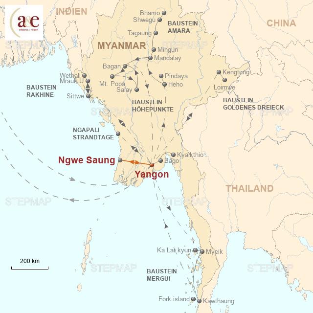 Routenkarte zur Reise Strandtage in Ngwe Saung