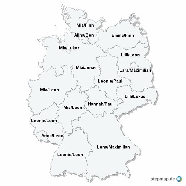 beliebteste Vornamen je Bundesland 2009