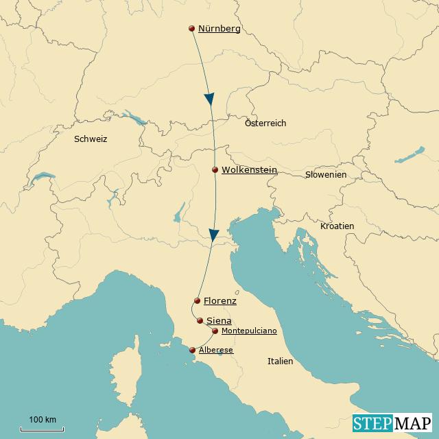 Reiseroute Toskana