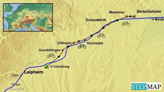 1. Etappe von Leipheim (grünes Dreieck) nach Bertoldsheim (rotes Kreuz) am 10. Mai 2018.