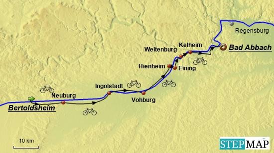 2. Etappe am 11.5.2018 von Bertoldsheim (grüner Pfeil) bis Bad Abbach (roter Ring).