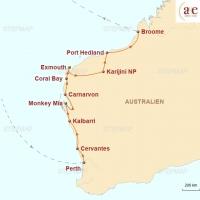 Routenkarte zur Reise Western Australia: On the Road zwischen Outback & Ozean