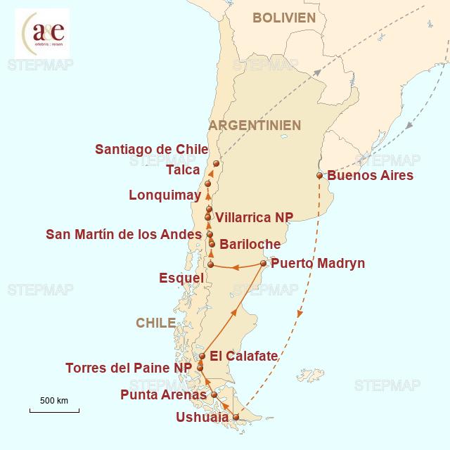 Routenkarte zur Reise Abenteuerland Patagonien