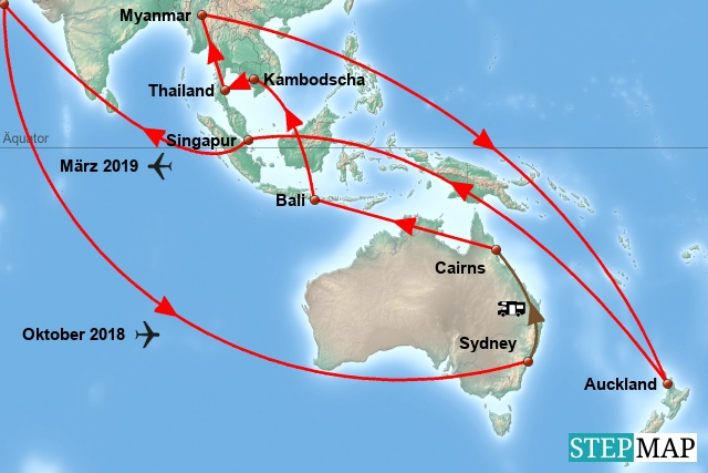 Route Weltreise 2018