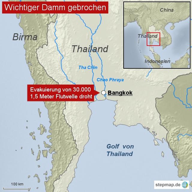 Damm vor Bangkok gebrochen