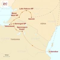 Routenkarte zur Reise Masai, Big Five & Sansibar
