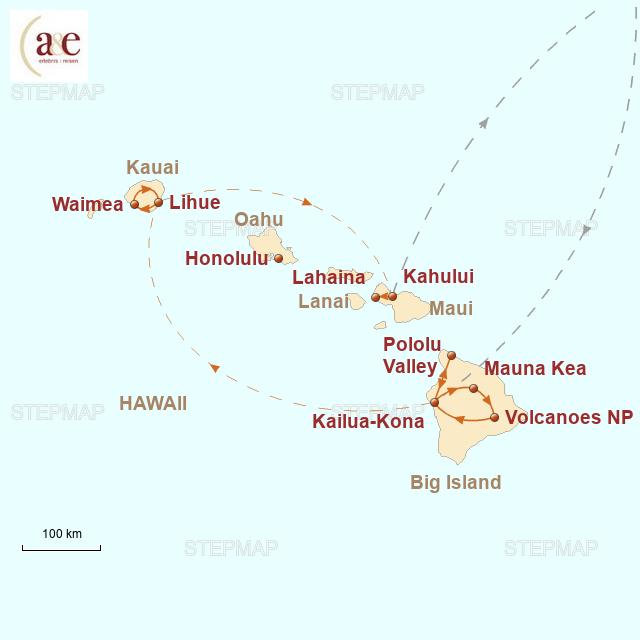 Routenkarte zur Reise Hawaii: Naturwunder im Pazifik