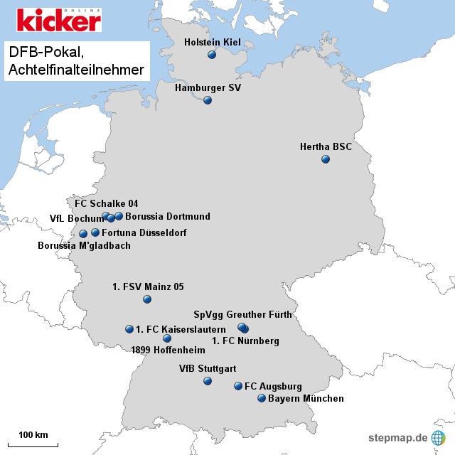 DFB-Pokal, die Achtelfinalteilnehmer