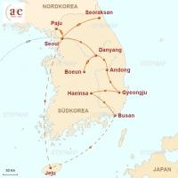 Routenkarte zur Reise Yin & Yang – Kontraste im Land der Morgenstille - ZEIT REISEN