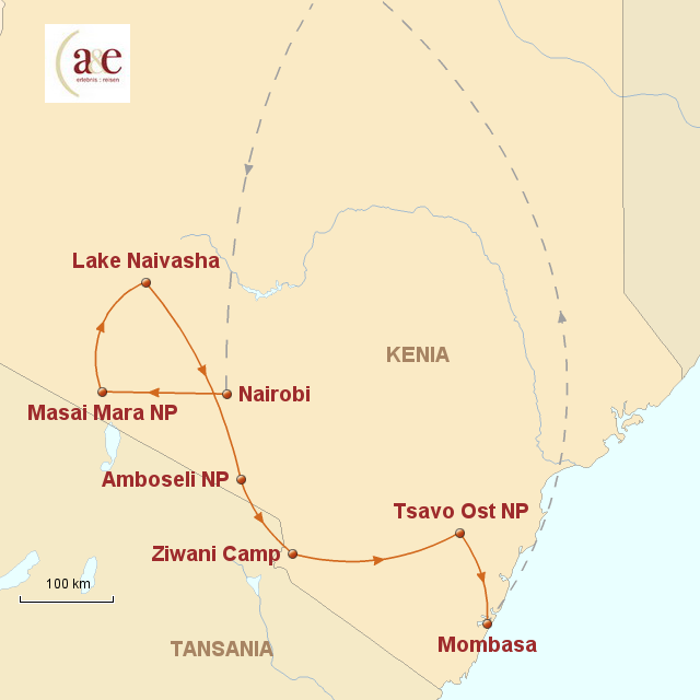 Routenkarte zur Reise Jenseits von Afrika