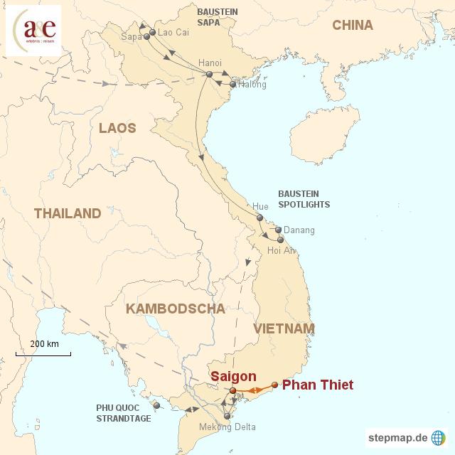 Routenkarte zur Reise Strandtage bei Phan Thiet