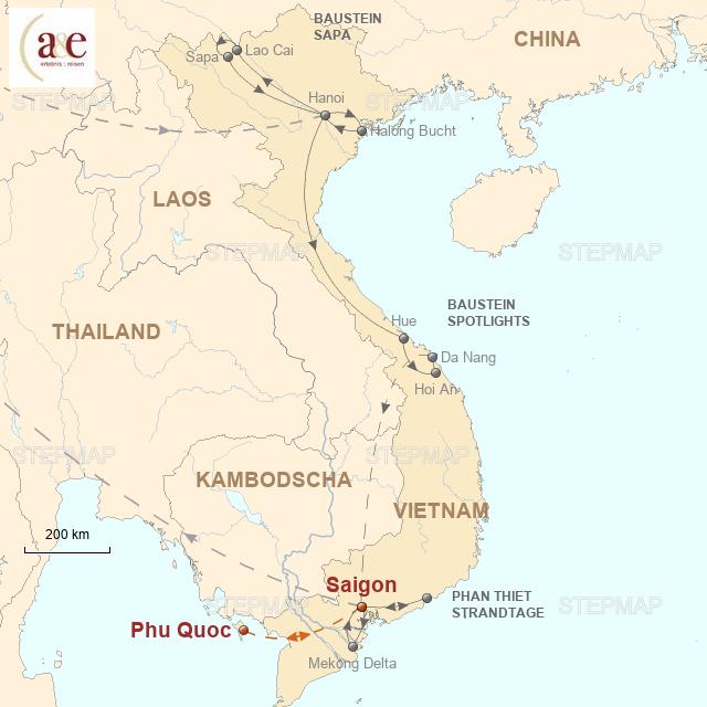 Routenkarte zur Reise Strandtage auf der Insel Phu Quoc