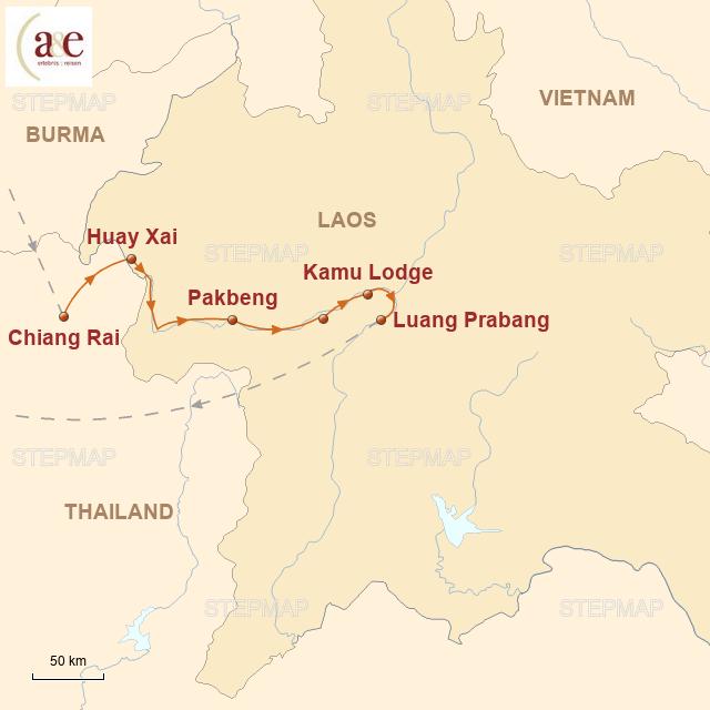 Routenkarte zur Reise Luangsay Cruise auf dem Mekong