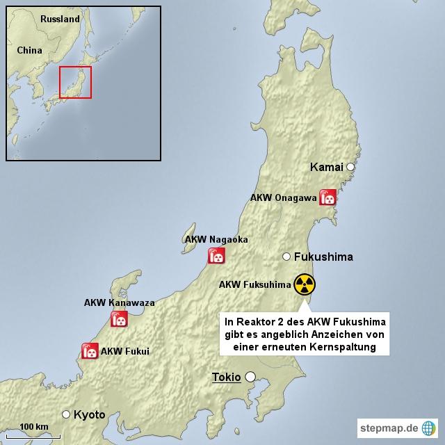 Anzeichen für Kernspaltung in Fukushima