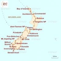 Routenkarte zur Reise Heimat der Maoris