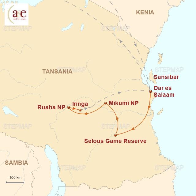 Routenkarte zur Reise Wilder Süden 2019