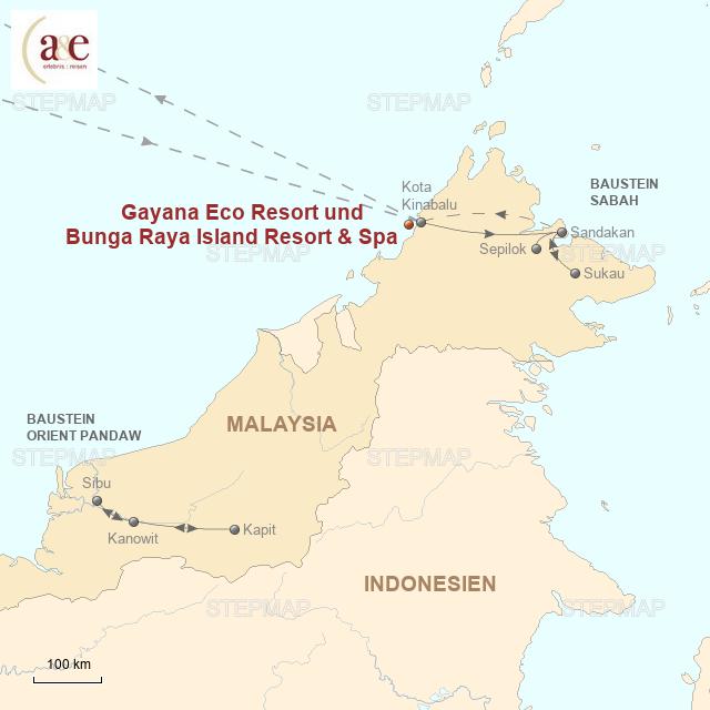 Routenkarte zur Reise Pulau Gaya – Inselparadies Borneos