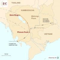 Routenkarte zur Reise Phnom Penh & Angkor