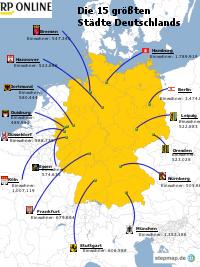 Die 15 größten Städte Deutschlands