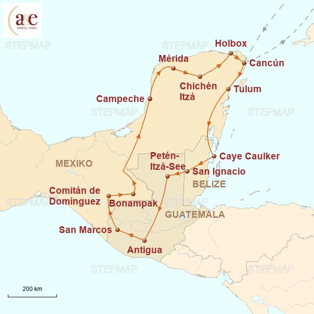 Routenkarte zur Reise Eintauchen in die Welt der Maya