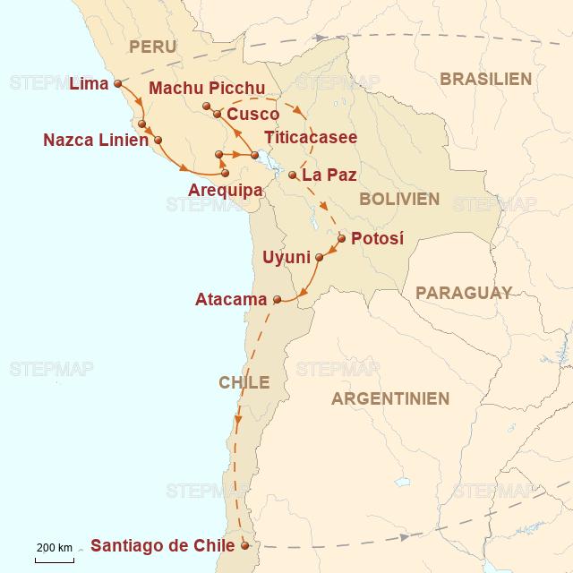 Routenkarte zur Reise Auf den legendären Pfaden der Inka
