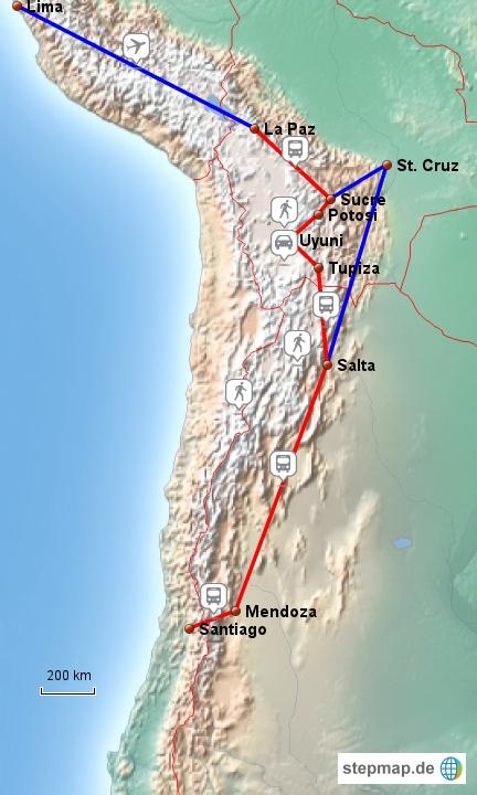 Nach einem Zwischenstop in Lima geht es von La Paz via Santa Cruz über Salta nach Santiago de Chile. Aufgrund eines Generalstreiks mussten wir die Route leider kurfristig ändern.