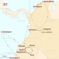 Routenkarte zur Reise Vulkane, Kaffee und Riesenschildkröten