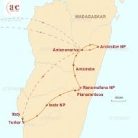 Routenkarte zur Reise Vielfalt der roten Insel