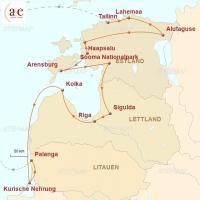 Routenkarte zur Reise Baltikum - Ursprünglich und echt