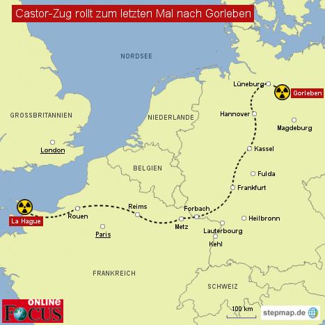 Castor-Zug auf dem Weg nach Gorleben