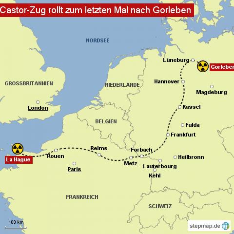 """Castor-Zug auf dem Weg nach <span class=""""rtr-schema-org"""" itemscope="""""""" itemtype=""""http://schema.org/Place""""><meta itemprop=""""name"""" content=""""Gorleben"""">Gorleben</span>"""