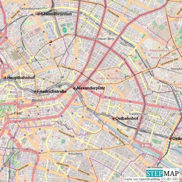 Wichtige Bahnhöfe in Berlin