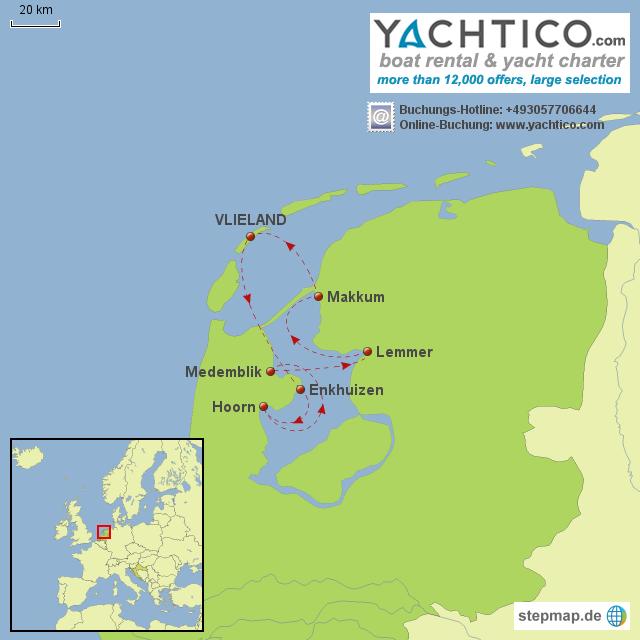 Bootsurlaub Ijsselmeer - entlang historischer Städtchen und Häfen mit Yachtico.com