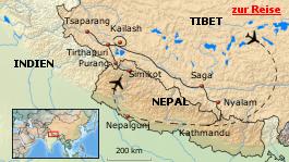 Karte von Pilgerreise zum heiligen Berg Kailash in Tibet