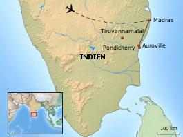 Karte von Erlebnis Auroville - Südindien