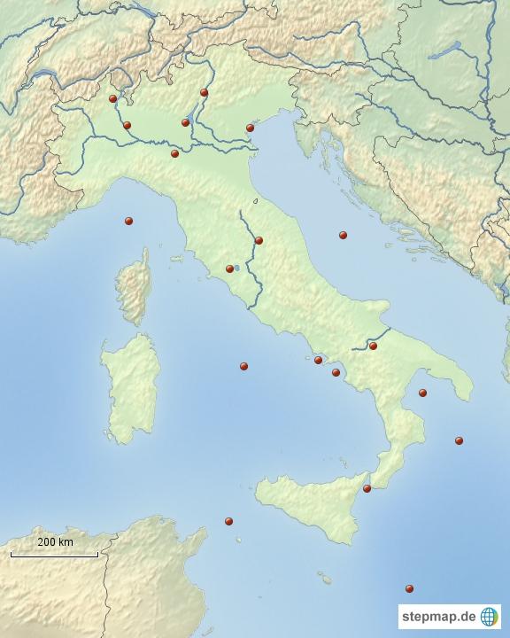 Italia - Fiumi, laghi e mari