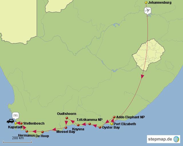 Port Elisabeth nach Kapstadt