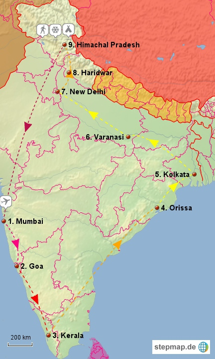 Travel route India