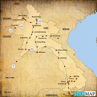 Laos Reiseroute