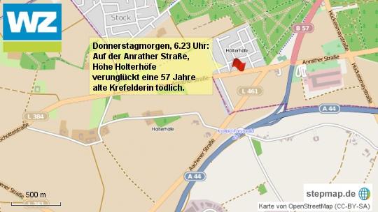 Karte KR tödlicher Unfall Anrather Straße