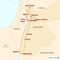 Routenkarte zur Reise Jordanien – Rote Wüste, Meer und Felsenstadt 2019