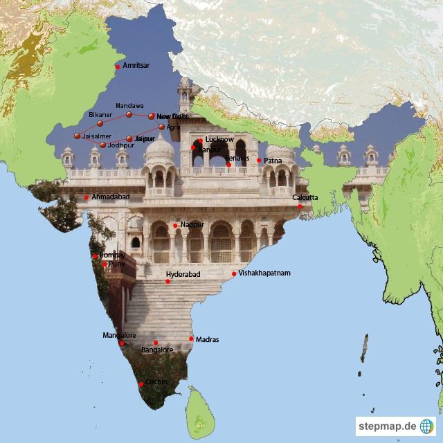 Indien Emerald Tours Reiseroute