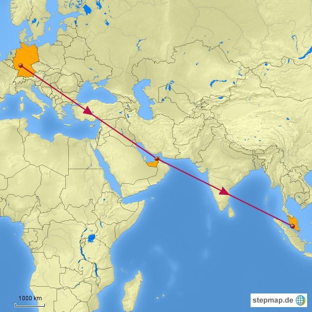 Da wir erst um 21:30 Uhr in Kuala Lumpur landen, haben wir beschlossen, die erste Nacht im Flughafen Hotel zu verbringen, bevor wir dann am Sonntagmorgen weiter in Richtung Insel Penang düsen.  Unsere geplante Route kann man auf der Karte sehen, aber so richtig vorgeplant ist sonst nicht weiter.