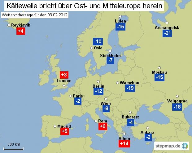 Kältewele bricht über Ost- und Mitteleuropa herein